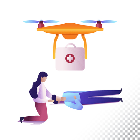 Drone or quadcopter flat icons. Unmanned medical aircraft and people.