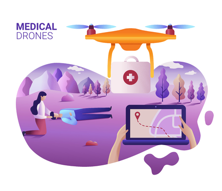 Drone or quadcopter medical service concept. Drone fly over the landscape and delivering ambulance equipment. Hands controlling via laptop