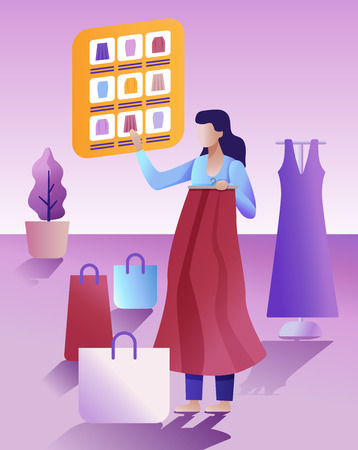 Online Shopping concept. The Woman choosing and purchasing clothes. Big Sale.