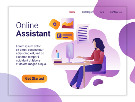 Landing page template of Online Assistant. The Flat design concept of web page design for a mobile website. The young woman works remotely at a computer. 矢量图像