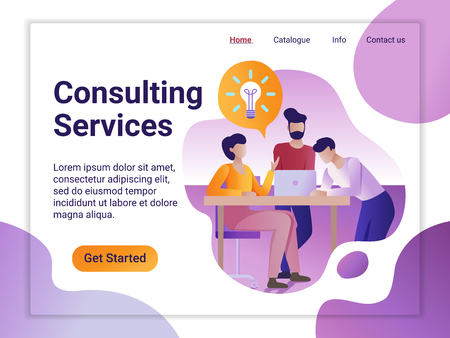 Landing page template of Online Consulting Service. The Flat design concept of web page design for a mobile website. The young people having brainstorming. 矢量图像