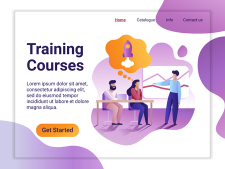 Landing page template of Training courses. The Flat design concept of web page design for a mobile website. A young man presents courses in front of a listening audience.