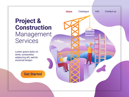 Landing page template of Project and Construction Managment Service. The Flat design concept of web page design. Construction team at the facility under construction. Imagens - 127093435