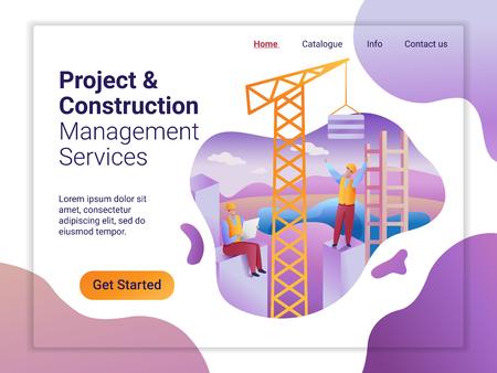 Modello di pagina di destinazione del servizio di gestione del progetto e della costruzione. Il concetto di design piatto del design della pagina web. Team di costruzione presso la struttura in costruzione.
