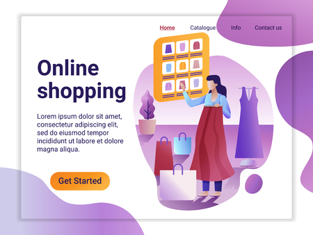 Landing page template of Online Shopping. The Flat design concept of web page design for a mobile website. The Woman choosing and purchasing clothes. Big Sale