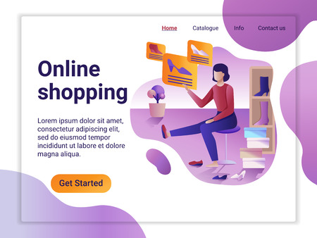Landing page template of Online Shopping. The Flat design concept of web page design for a mobile website. The Woman choosing and purchasing shoes. Big Sale.