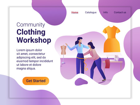 Landing page template of Clothing Workshop. The Flat design concept of web page design for a mobile website. A tailor makes a woman body measurement.