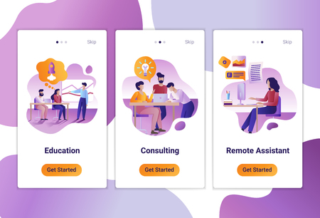 Mobile app templates of Consulting, education and remote job. Vector illustration of scenes with modern people at work.