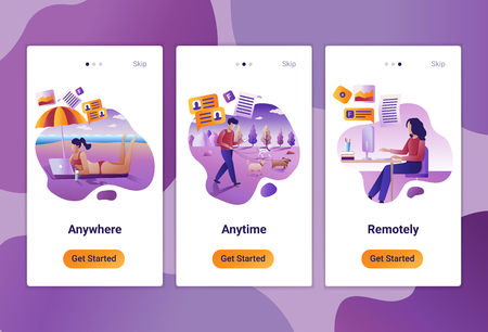 Mobile app templates of Online assessment and remote job. Vector illustration of scenes with modern people at work.