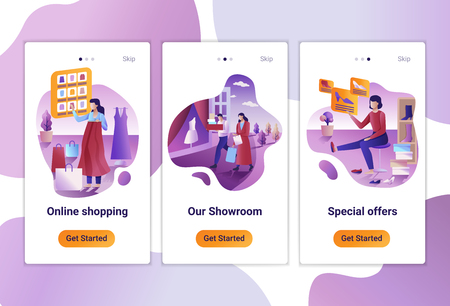Mobile app templates of Online Shopping. The Flat design concept of pages design with mobile banners.