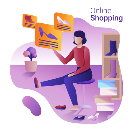 Sale and Online shopping concept. The Woman choosing and purchasing shoes online. 矢量图像