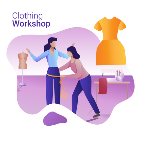Clothing Workshop concept. A tailor makes a woman body measurement.