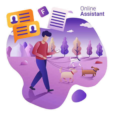 Online Assistant concept. Young man walking dogs and communicating via smartphone.