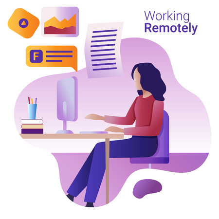 Concetto di lavoro a distanza. La giovane donna lavora in remoto al computer.