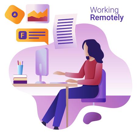 Konzept aus der Ferne arbeiten. Die junge Frau arbeitet aus der Ferne an einem Computer.