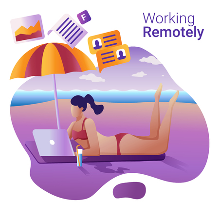 Work remotely concept. Young girl remotely working at a laptop lying on the beach. 版權商用圖片 - 127093458