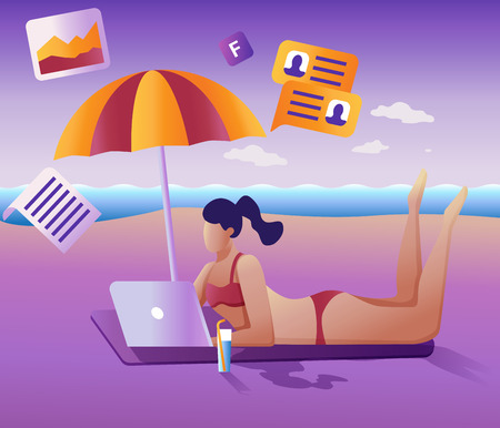 Work remotely concept. Young girl remotely working at a laptop lying on the beach.