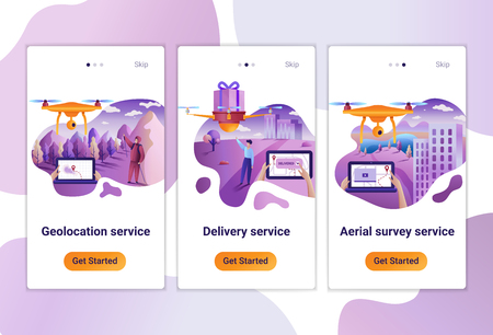 Mobile app templates of drone or quadcopter service for any use. The Flat design concept of pages design with mobile banners. Vector illustration