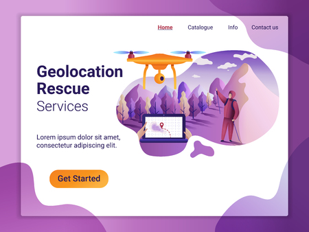 Landing page template of geolocation concept. The Flat design concept of web page. Drone fly over the landscape and makes the search for the missing.