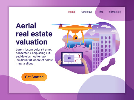 Landing page template of Project with the Aerial Real Estate Valuation. The Flat design concept of web page design. Drone fly over the landscape and make a mapping, video and etc Illustration