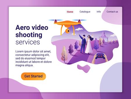 Landingpage-Vorlage des Aerial-Video-Shooting-Dienstes. Das flache Designkonzept der Webseite. Drohne fliegt über die Hochzeitslocation und macht ein Video und Fotos.