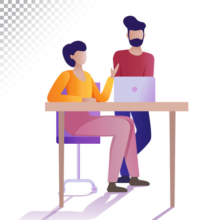 Modern people flat illustration. The young people having brainstorming. Vector illustration