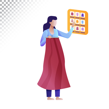 Modern woman flat illustration. The Woman choosing and purchasing clothes online. Vector illustration 矢量图像