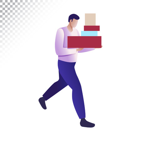 Modern man flat illustration. The man carries shopping boxes. Vector illustration