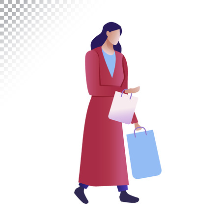 Modern woman flat illustration. The woman carries shopping bags. Vector illustration 矢量图像