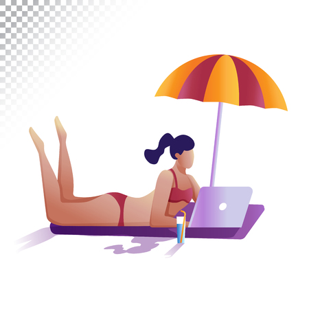 Modern woman flat illustration. Young girl remotely working at a laptop lying on the beach. Vector illustration