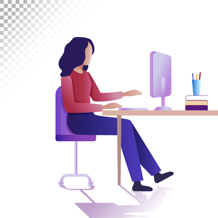 Modern woman flat illustration. The young woman works remotely at a computer. Vector illustration