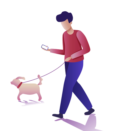 Modern young man flat icons. Young man walking a dog and communicating via smartphone. Vector illustration Illustration
