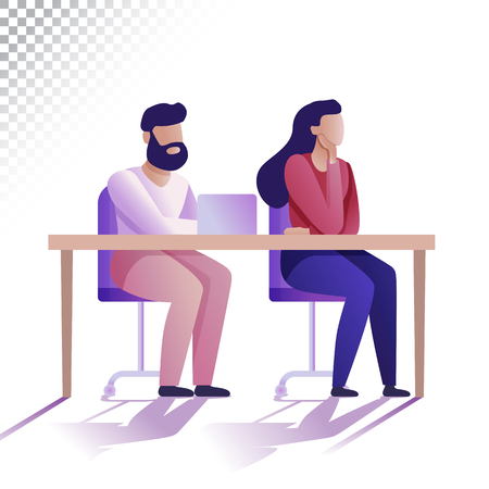 Modern people flat illustration. Young man and woman are sitting at the table. Vector illustration