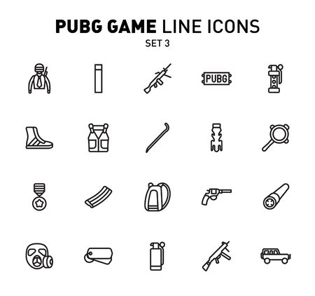 game line icons. Vector illustration of combat facilities. Linear design. The Set 3 of icons