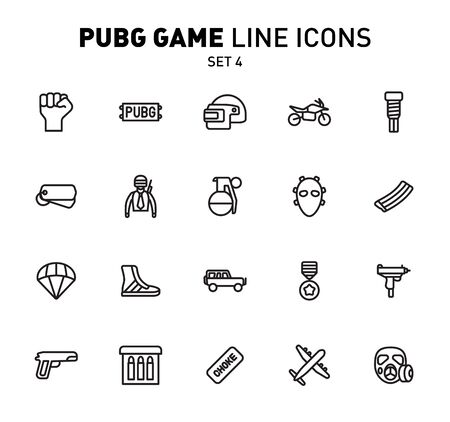 game line icons. Vector illustration of combat facilities. Linear design. The Set 4 of icons