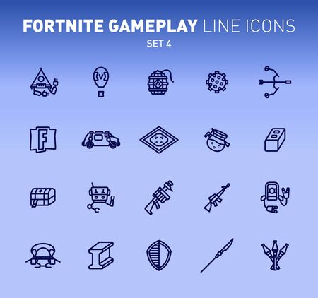 Epic game play outline icons. Vector illustration of combat military facilities. Linear flat design on blue background.