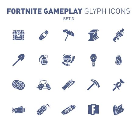 Popular epic game glyph icons. Vector illustration of military facilities. Crystal, mineral, grenade and other weapons. Solid flat design. Set 2 of blue icons isolated on white background.