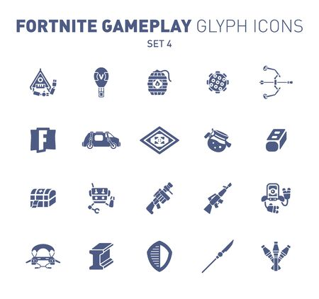 Popular epic game glyph icons. Vector illustration of military facilities. Blast Powder, air balloon, rockets, and other weapons. Solid flat design. Set 4 of blue icons isolated on white background Illusztráció