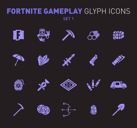Popular epic game glyph icons. Vector illustration of military facilities. Robot, Slurp Juice, logs, aid kit, and weapons. Solid flat design. Set 1 of violet icons isolated on black background.