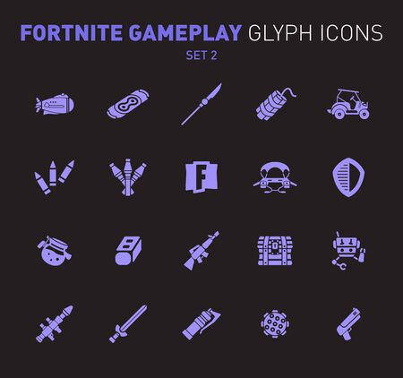 Popular epic game glyph icons. Vector illustration of military facilities. Airship, drift board, grenade, buggy, and weapons. Solid flat design. Set 2 of violet icons isolated on black background.