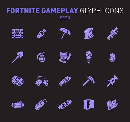 Popular epic game glyph icons. Vector illustration of military facilities. Chest, coins, umbrella and other weapons. Solid flat design. Set 3 of violet icons isolated on black background.