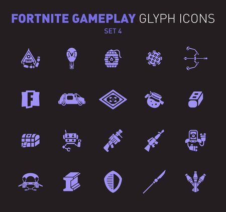 Popular epic game glyph icons. Vector illustration of military facilities. Grenade, machine gun, rifle, and other weapons. Solid flat design. Set 4 of violet icons isolated on black background Ilustração
