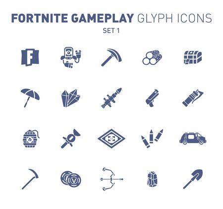 Popular epic game glyph icons. Vector illustration of military facilities. Robot, pickaxe, crystal, and weapons. Solid flat design. Set 1 of blue icons isolated on white background.