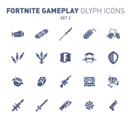 Popular epic game glyph icons. Vector illustration of military facilities. Airship, spear, grenade, vehicle and other weapons. Solid flat design. Set 2 of blue icons isolated on white background.