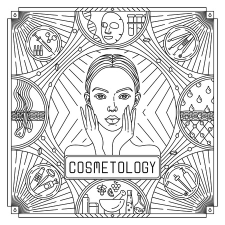 Vector flat, outline black and white design poster for skin care. Ads for Cosmetology with woman portrait, acne extractor, skin structure, cream. Linear card: cosmetic equipment