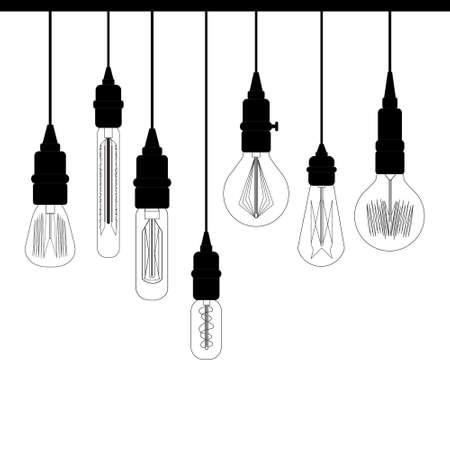 에디슨 레트로 로프트 조명의 집합입니다. 디자인을위한 레트로 램프