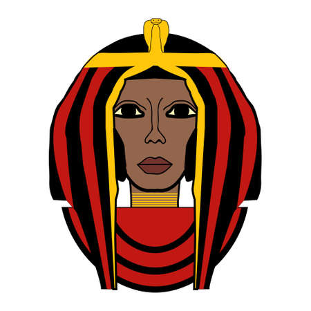cleopatra: beautiful girl stylized into Cleopatra, her name written in Egyptian hieroglyphics and pharaoh symbols