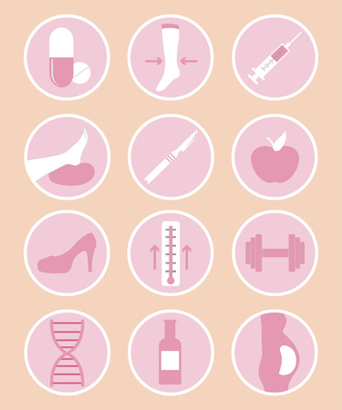 varicose veins: A set of phlebology vector icons. Varicose veins.