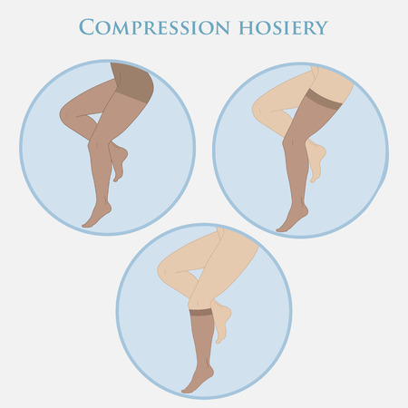 Medical compression hosiery for slender female feet, stockings, pantyhose, socks. Illustration