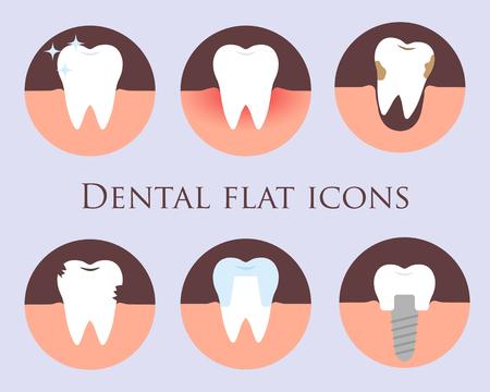 Dental flache Vektor-Icons für Ihre Website, Visitenkarten, Broschüren in Form eines Kreises